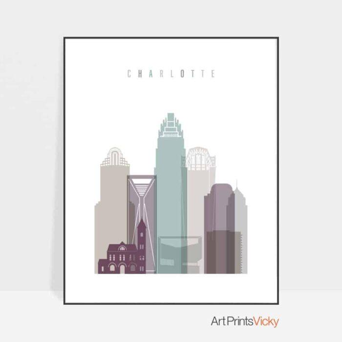 Charlotte skyline pastel 2