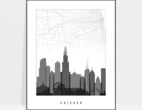 Map of Chicago black and white poster
