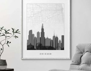Map of Chicago black and white poster second photo