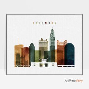 Columbus poster landscape watercolor 3