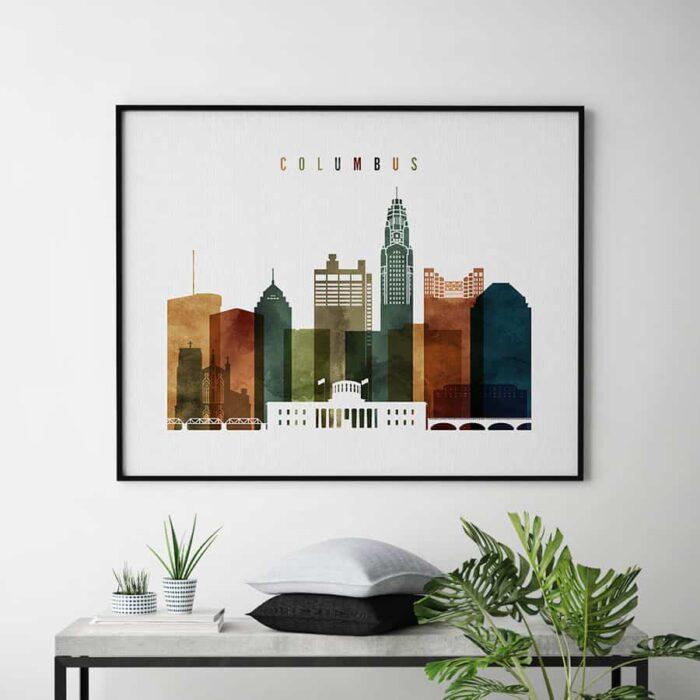 Columbus poster landscape watercolor 3 second