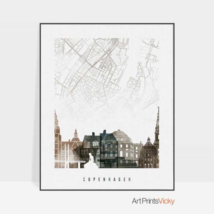 Copenhagen map poster watercolor 2