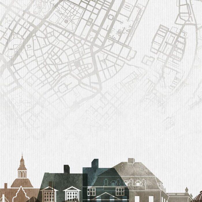 Copenhagen map poster watercolor 2 detail