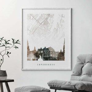 Copenhagen map poster watercolor 2 second photo