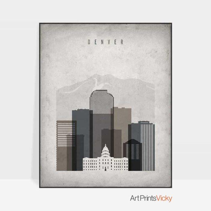 Denver skyline retro