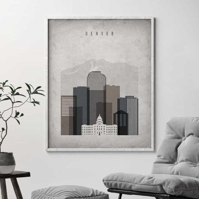 Denver skyline retro second