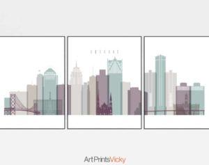 Detroit 3 prints set pastel 2
