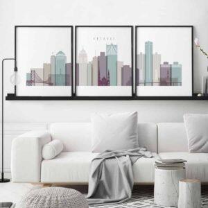 Detroit 3 prints set pastel 2 second