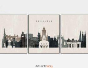 Edinburgh 3 prints set distressed 2