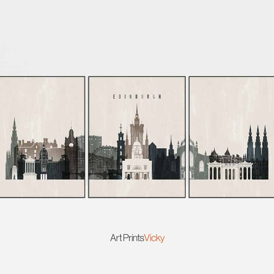 Edinburgh 3 prints set distressed 2