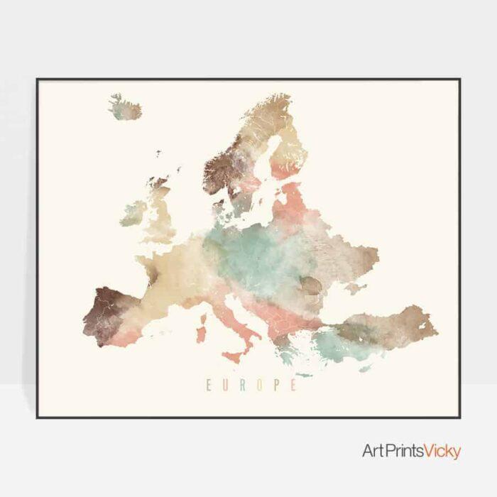 Europe map art poster pastel cream