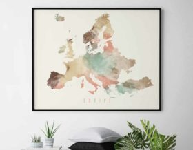 Europe map art poster pastel cream second
