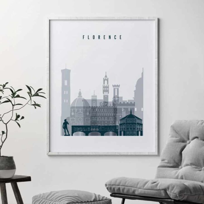 Florence poster grey blue by second
