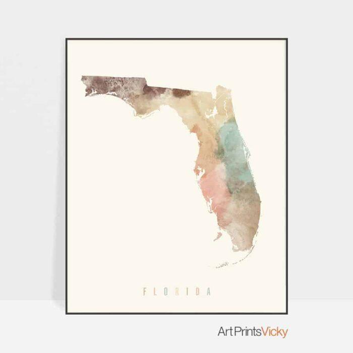 Florida map artwork print pastel cream