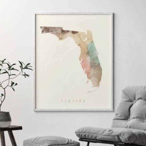 Florida map artwork print pastel cream second