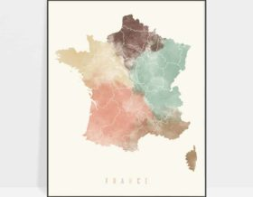 France map poster pastel cream