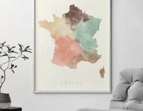 France map poster pastel cream second