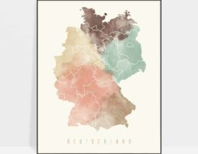 Germany map poster pastel cream