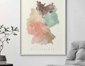Germany map poster pastel cream second