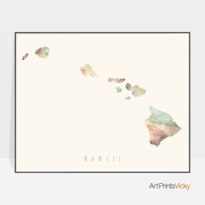 Hawaii map print pastel cream