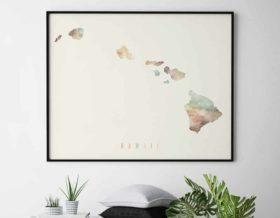 Hawaii map print pastel cream second