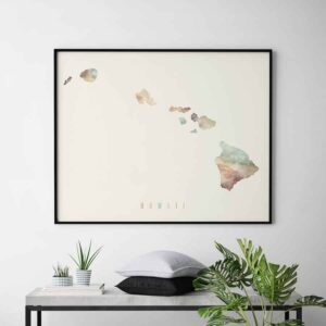 Hawaii map print pastel cream second