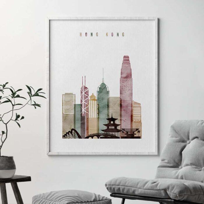 Hong Kong poster watercolor 1 second
