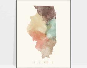 Illinois map print pastel cream