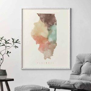 Illinois map print pastel cream second
