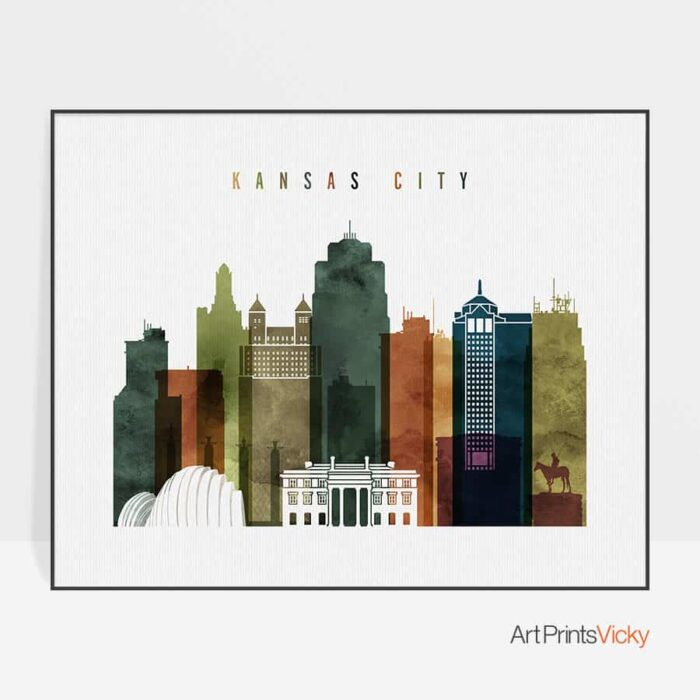 Kansas City poster landscape watercolor 3