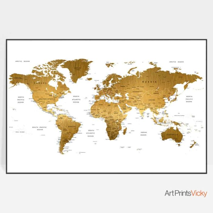 Large world map poster faux gold