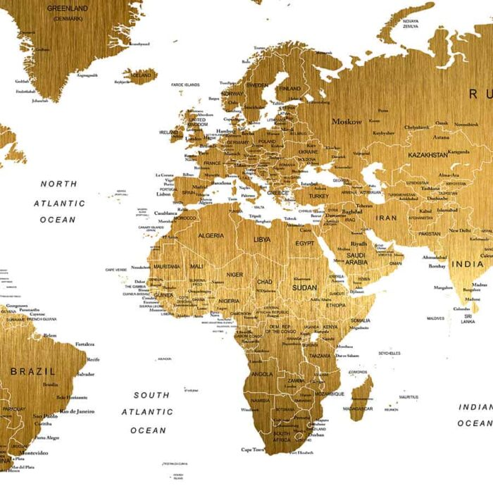 Large world map poster faux gold detail
