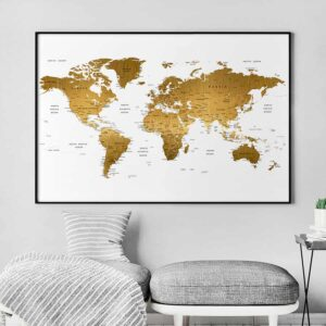 Large world map poster faux gold second