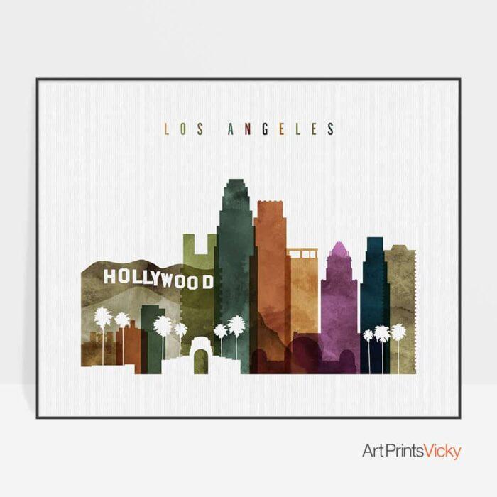 Los Angeles skyline landscape watercolor 3