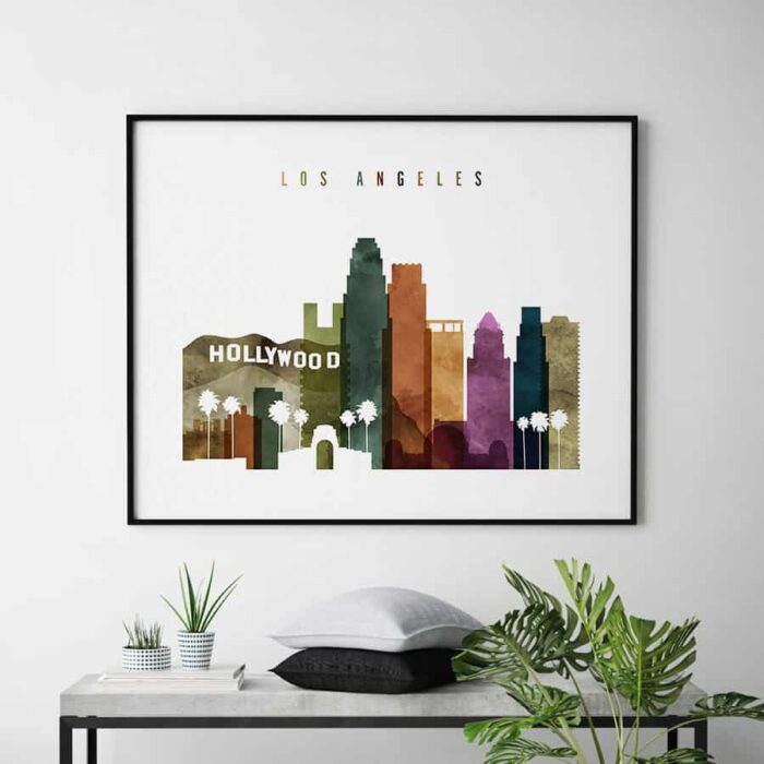 Los Angeles skyline landscape watercolor 3 second