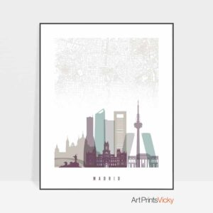 Madrid map skyline art pastel 2