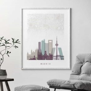 Madrid map skyline art pastel 2 second