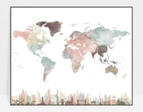 Map print pastel white