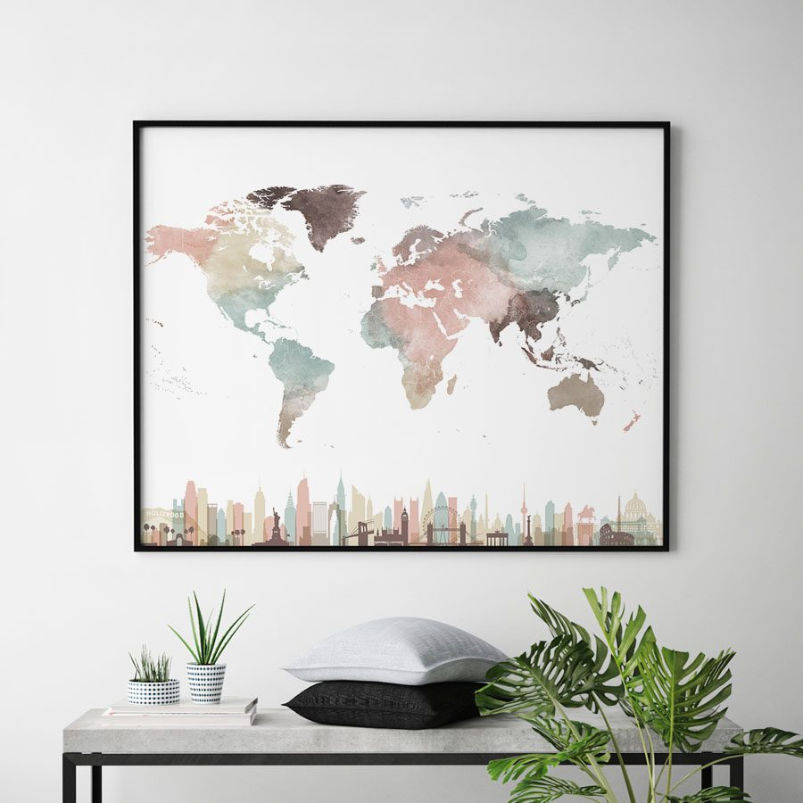 Map print pastel white second