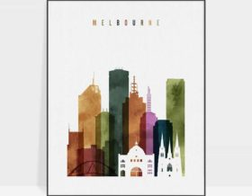 Melbourne poster watercolor 3