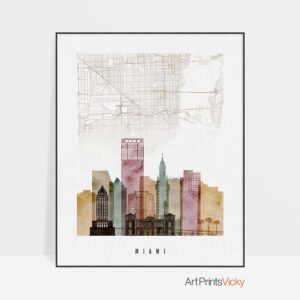 Miami map skyline art