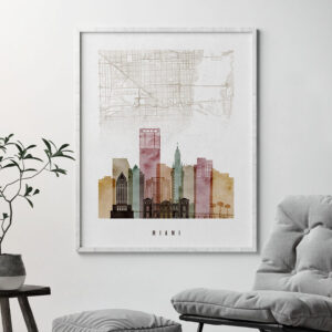 Miami map skyline art second