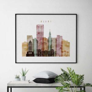 Miami skyline art watecolor 1 second