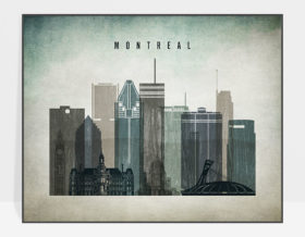 Montreal skyline landscape distressed 3