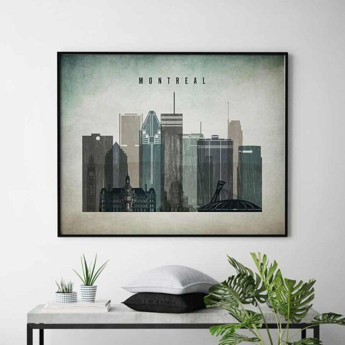 Montreal skyline landscape distressed 3 second