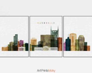 Nashville skyline 3 prints set watercolor
