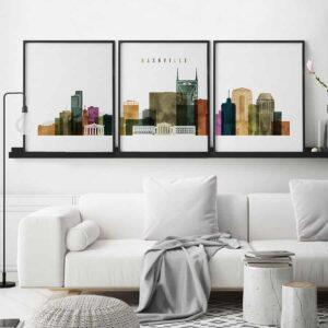 Nashville skyline 3 prints set watercolor second