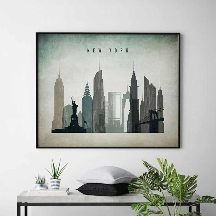 New York skyline landscape distressed 3 second
