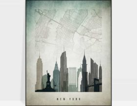 New York map poster distressed 3