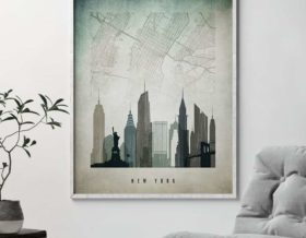 New York map poster distressed 3 second